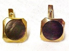 Vintage Swank Cuff Links Brown Mother of Pearl Iridescent Costume Gold P... - $39.17
