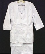 White Nursing Uniform Pant Suit Nurses 2 Piece Set Square Neck 8 USA New - $29.67