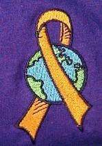 World Ribbon Leukemia MS Lupus Melanoma Kidney Cancer Purple S/S T Shirt S New - $23.25