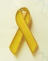 Yellow Awareness Ribbon Lapel Pin Troop Support Cancer Disease Cause Syn... - $8.70