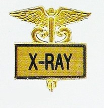 X-RAY X Ray Lapel Pin Medical Gold Inlaid Emblem Caduceus Recognition 35... - $14.52
