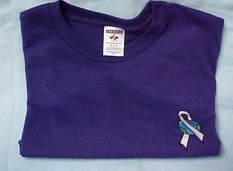 World Pale Gray Ribbon Brain Cancer Diabetes Purple S/S T Shirt 5X 50/50 New image 2
