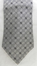 Zylos George Machado Silk Gray Silver Black Striped Checkerd Block Mens ... - $23.97