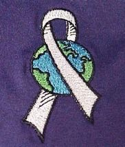 World Pale Gray Ribbon Brain Cancer Diabetes Purple S/S T Shirt M 50/50 New image 3