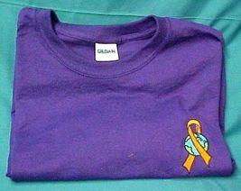 World Ribbon Leukemia MS Lupus Melanoma Kidney Cancer Purple S/S T Shirt M New image 2