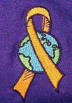 World Ribbon Leukemia MS Lupus Melanoma Kidney Cancer Purple S/S T Shirt M New image 3