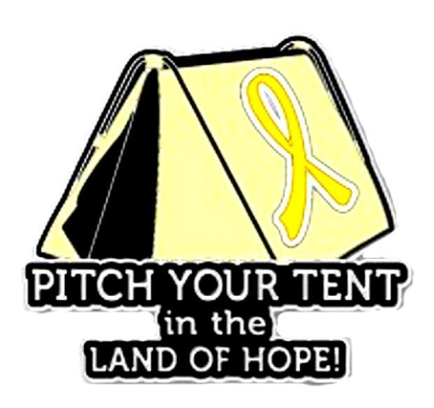 Primary image for Yellow Awareness Ribbon Pin Pitch Your Tent in Land of Hope Camping Camper New