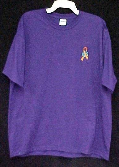 World Ribbon Leukemia MS Lupus Melanoma Kidney Cancer Purple S/S T Shirt M New