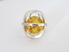 Vintage Sterling Silver Natural Baltic Amber High Dome Ring Size 7.25 - $65.00
