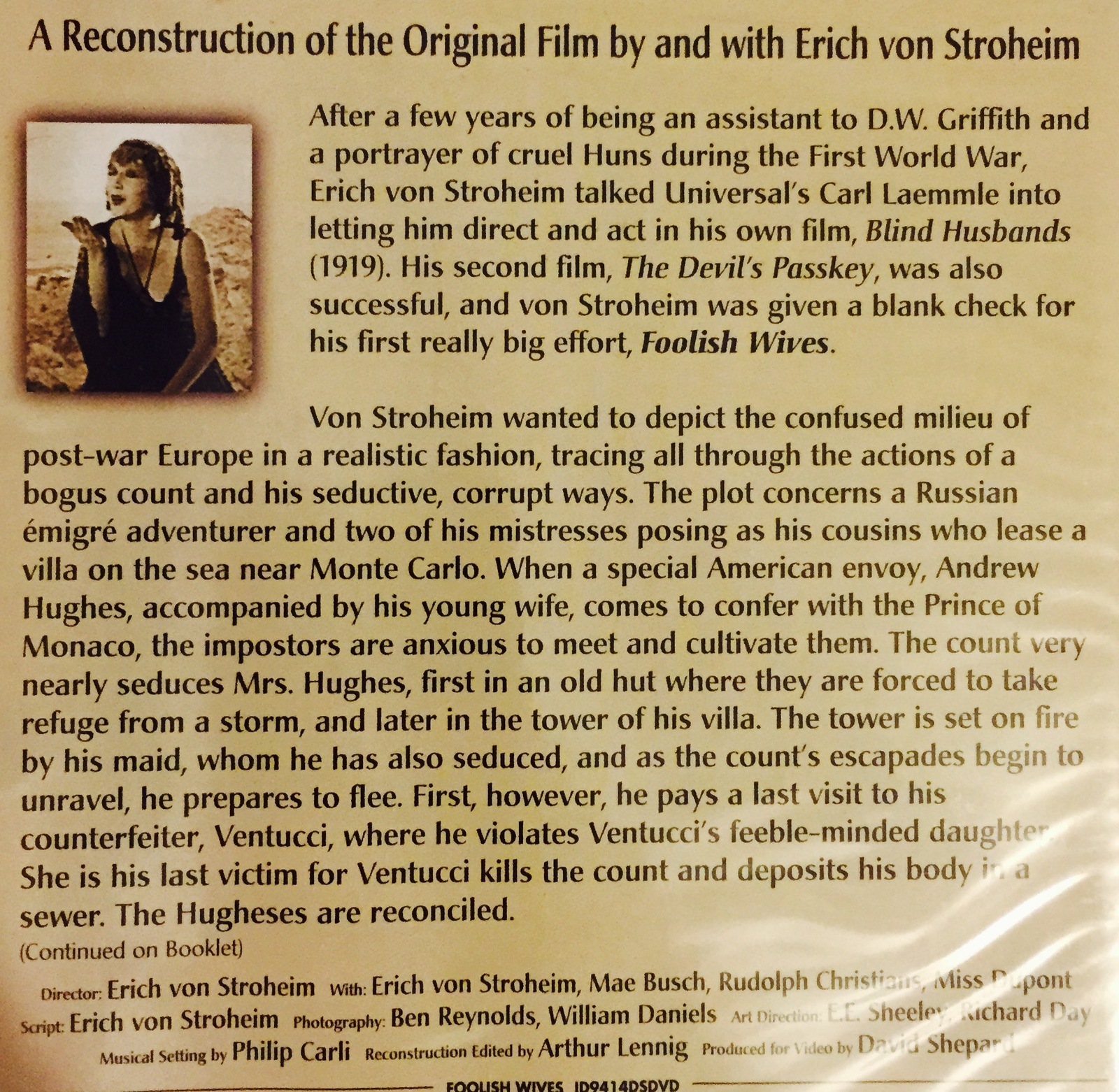 Foolish Wives:A Reconstruction of the Original Film by & with Erich von Stroheim