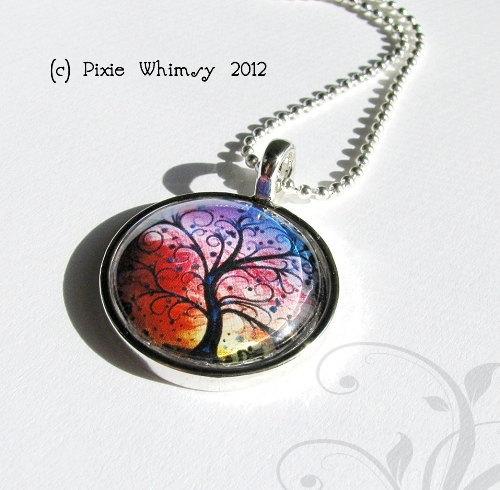 ROSE FLOWER Necklace, Flower Pendant, Flower Jewelry, FLower Charm, Glass Photo
