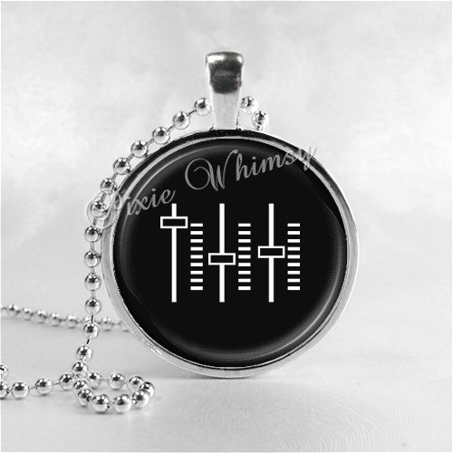 MUSIC Necklace, Music Pendant, Music Jewelry, Music Charm, Equalizer, Photo Art