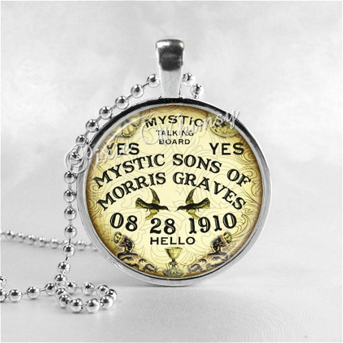 Ouija Board Necklace Art Pendant Jewelry with Ball Chain, Mystic Sons of Morris