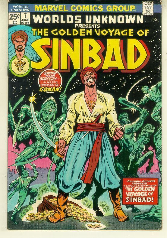 WORLDS UNKNOWN #7 (Marvel Comics, 1974) ~ Golden Voyage of Sinbad!