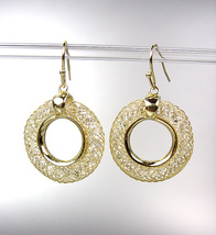 SHIMMERY 18kt Gold Plated Wire Mesh Ring CZ Crystals Dangle Earrings - $24.99