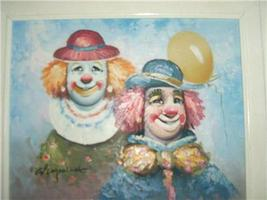 SIGNED ORIGINAL W. MONINET TWO CIRCUS CLOWNS PAINTING - $191.99