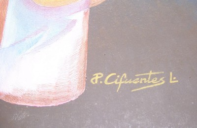 SIGNED P. CIFUENTES LATINO CONTEMPORARY ART PAINTING