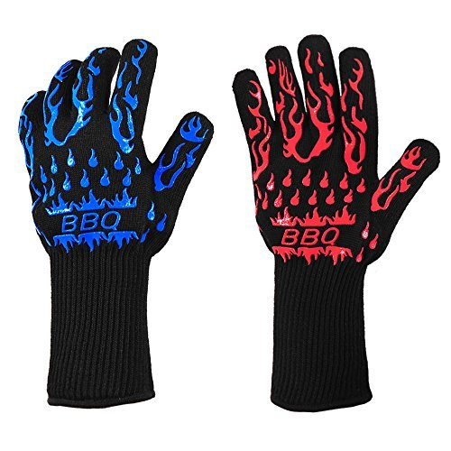 ASHLEYRIVER BBQ Grill Glove Extreme Heat Resistant Oven Gloves for Cooking, Gril
