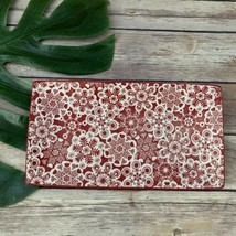Hallmark Snowflake Print Rectangular Dish Plate Red White Trinket Tray Christmas - $24.74