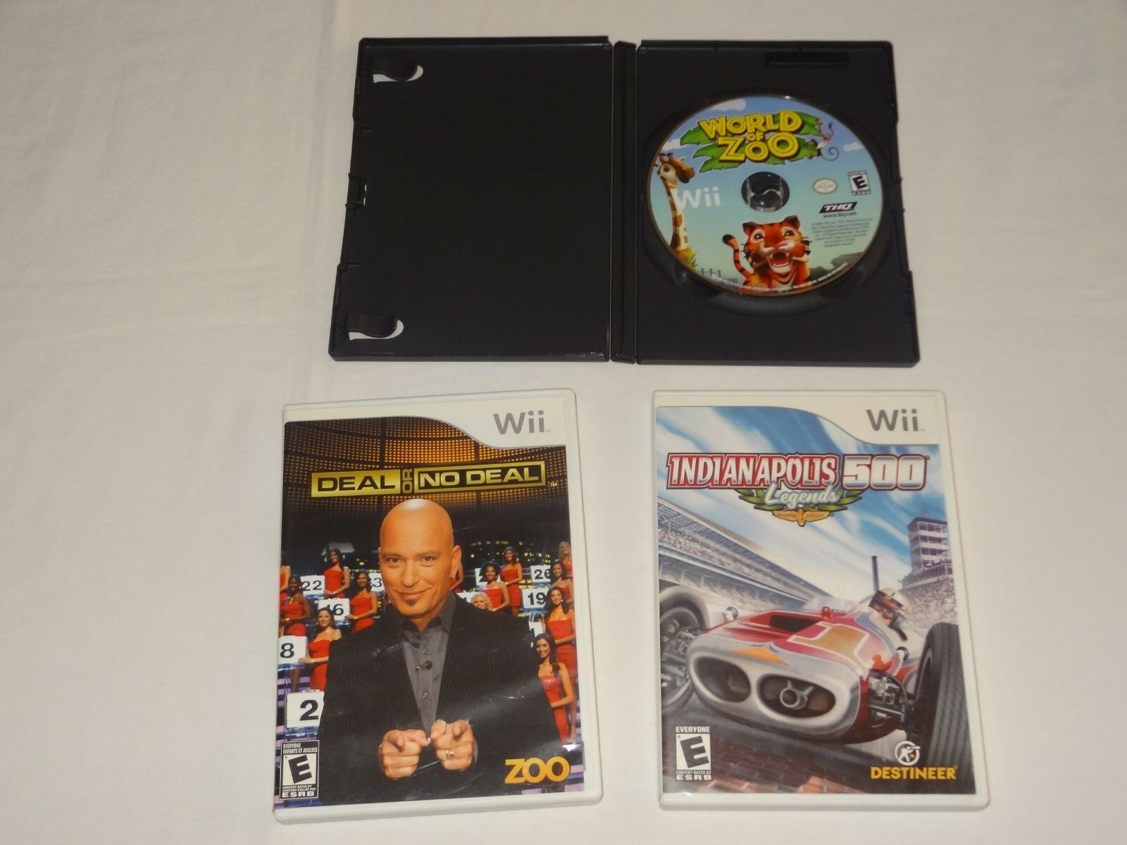 Nintendo Wii  World of Zoo Disk Only Indianapolis 500 Legends Deal or No deal image 2