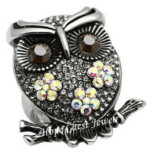 WOMEN'S STAINLESS STEEL CRYSTAL OWL BIRD COCKTAIL FASHION RING SIZE 7 - $26.49