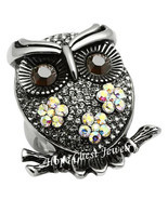 WOMEN'S STAINLESS STEEL CRYSTAL OWL BIRD COCKTAIL FASHION RING SIZE 7 - £21.65 GBP