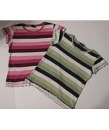 Crew Neck Girls Cotton TShirts Short Sleeve Size L (10-12) Wide Striped ... - $14.89