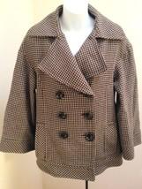 Zara Woman Sz M Peacoat Brown Black Wool Blend Houndstooth Tweed Coat - $27.41