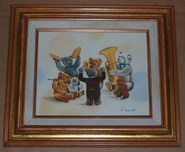 SIGNED R. SMITH TEDDY BEARS MUSICAL BAND CHILD PAINTING - $675.49
