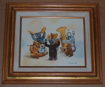 SIGNED R. SMITH TEDDY BEARS MUSICAL BAND CHILD PAINTING