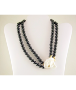 Vintage Kenneth Jay Lane for Avon Midnight Rose necklace black white - $32.00