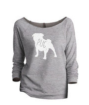Thread Tank Pug Dog Silhouette Women's Slouchy 3/4 Sleeves Raglan Sweatshirt Spo - $24.99+