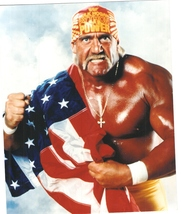 Hulk Hogan Flag Vintage 8X10 Color Wrestling Memorabilia Photo - $6.99