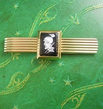 Vintage Extra large Tie clip cameo money clip Gold filled intaglio roman... - $85.00