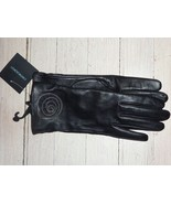 NEW SOFT Black LEATHER Gloves sz Small QUIRKY Zipper Floral -Cynthia Row... - $21.59