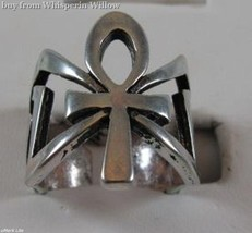 Sterling Silver Heavy Metal Ankh Ring 8 - $19.95