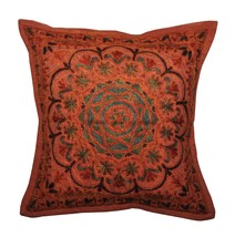 "Vintage 16"" Indian Cotton Cushion Cover Embroid... - $24.75"