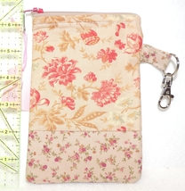 Clip-On Cell Phone Case - Medium - Pink Calico Flowers on Ecru - COPC - $4.00