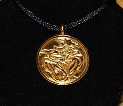 """Linda Le Kinff """"Woman"""" Signed Medallion Necklace Pendant on Silk Cord - $22.00"""