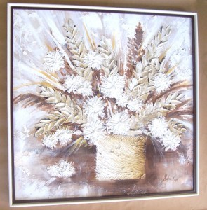 SIGNED STEPHEN KAYE TEXTURED ART FLOWERS PAINTING #2