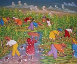 SIGNED T. JUCELET CARIBBEAN CREOLE HAITI ART PA... - $1,957.00