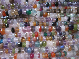 5x13 inch multi stone faceted rondell  5mm-6mm beads - $34.19
