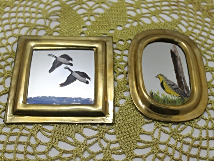 Set of Two Vintage Brass Framed Hand Painted Birds/Ducks Miniature Mirrors