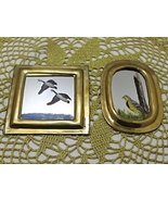 Set of Two Vintage Brass Framed Hand Painted Birds/Ducks Miniature Mirrors - $10.50