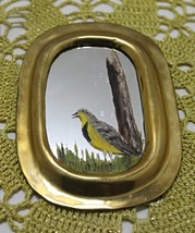 Set of Two Vintage Brass Framed Hand Painted Birds/Ducks Miniature Mirrors image 3