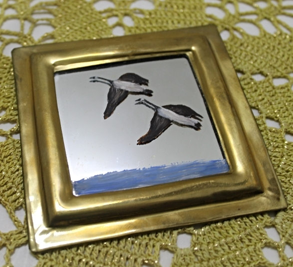 Set of Two Vintage Brass Framed Hand Painted Birds/Ducks Miniature Mirrors image 4
