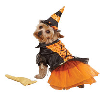 Witch Costume Dog Puppy Halloween Pet Orange Casual Canine Small Medium - $15.51