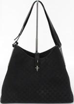 GUCCI Black Monogram GG Canvas Leather Hobo Shoulder Bag Silver HW VINTAGE - $332.50