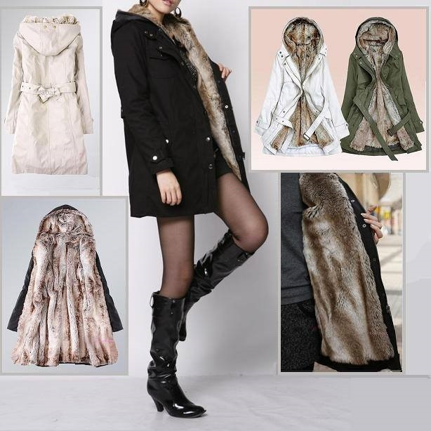 Warm Thick Faux Rabbit Fur Lined Winter Hooded Parka Coat w/ Belt Front Zipper