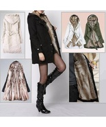 Warm Thick Faux Rabbit Fur Lined Winter Hooded Parka Coat w/ Belt Front ... - £106.62 GBP